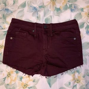 Maroon High Waisted Shorts